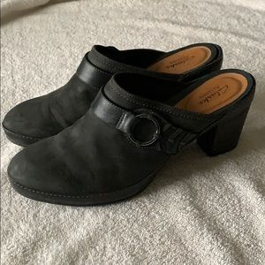 Clarks Black Leather Mules Blogs